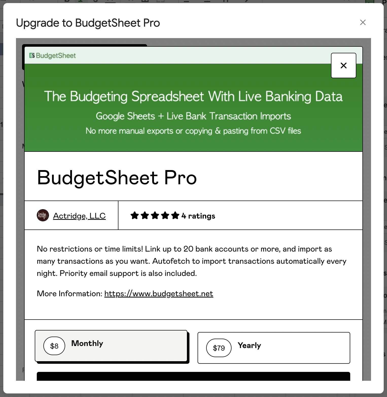 Upgrade to BudgetSheet Pro Payment Dialog (powered by Gumroad)