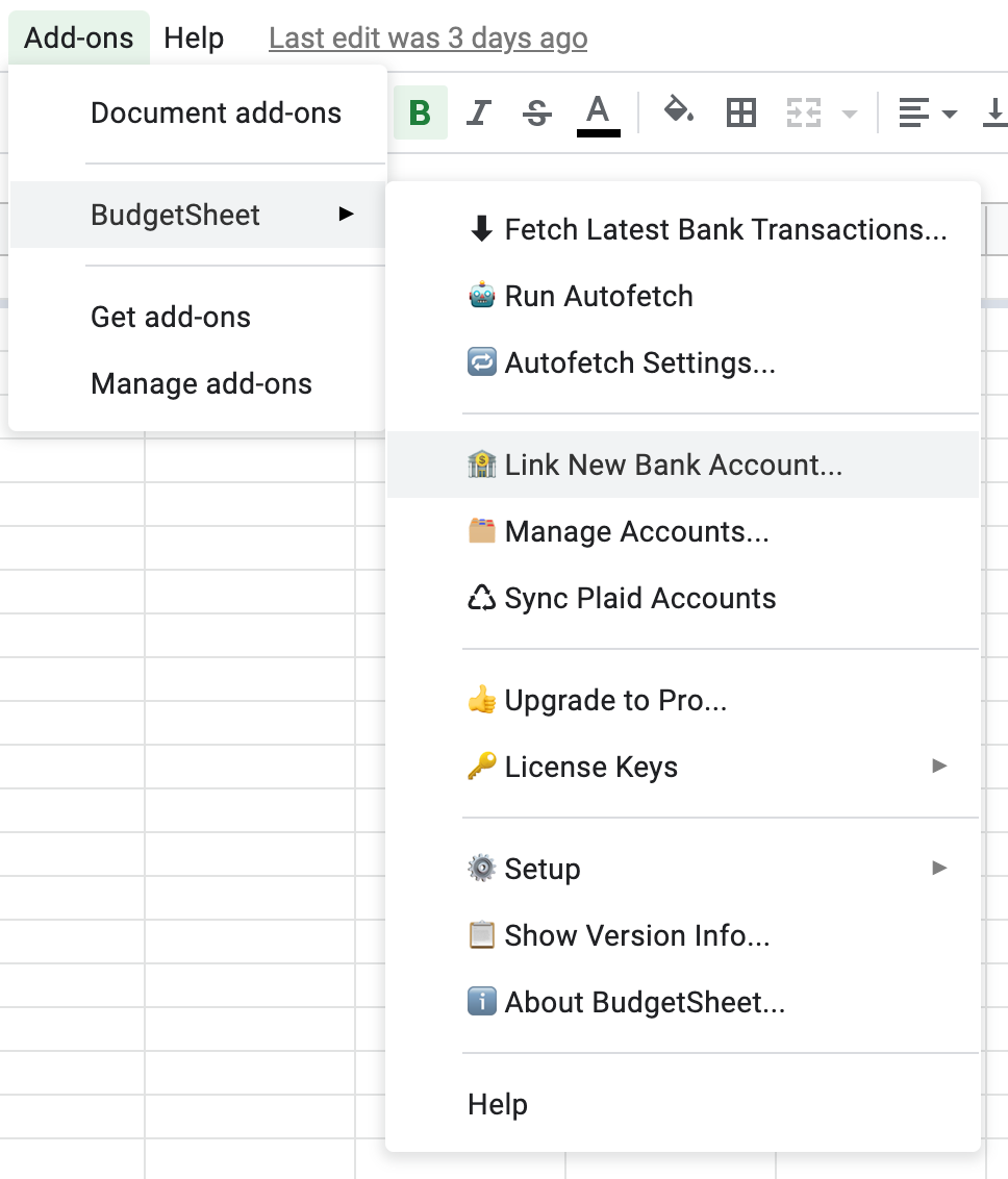 Menu item to open the dialog for linking more bank and credit accounts to BudgetSheet