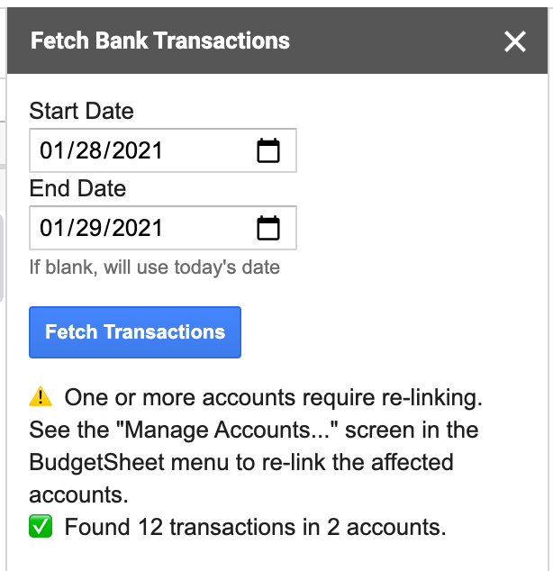 Accounts with login issues now report this when fetching transactions. Working accounts still import transactions successfully.